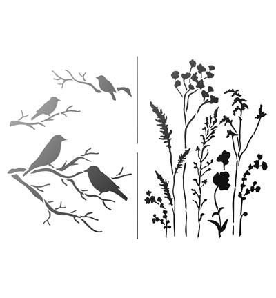 Stencil vogel gras
