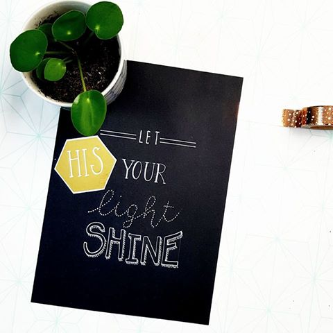 Let His light shine handlettering
